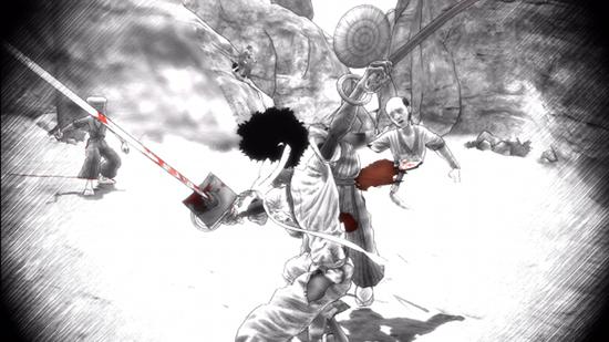 """Durante el """"tiempo bala"""", el juego presentará un aspecto similar al de un manga: blanco y negro, tramas, líneas cinéticas..."""